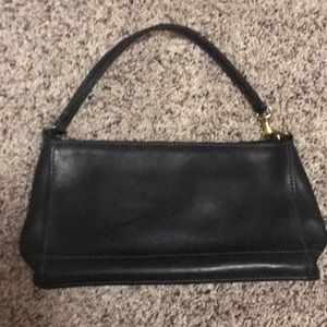 Black leather coach small shoulder bag